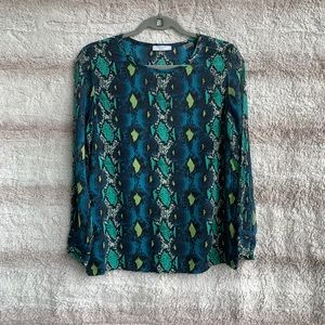 Equipment Size S Blue Snake Print Silk Blouse